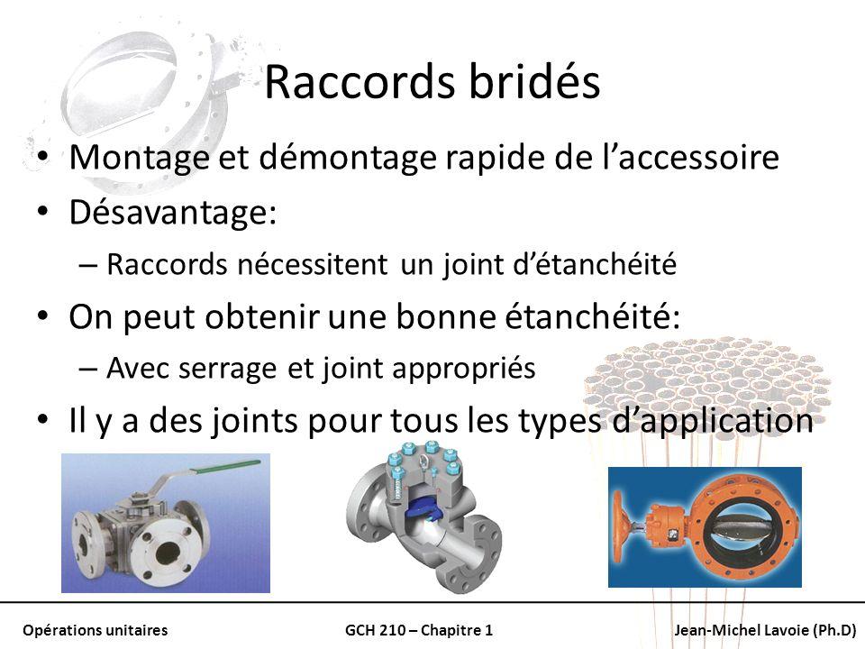Opérations unitairesGCH 210 – Chapitre 1Jean-Michel Lavoie (Ph.D) Raccords bridés Montage et démontage rapide de laccessoire Désavantage: – Raccords n