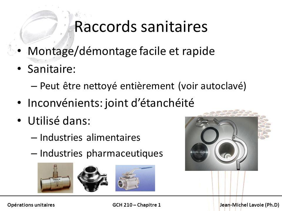 Opérations unitairesGCH 210 – Chapitre 1Jean-Michel Lavoie (Ph.D) Raccords sanitaires Montage/démontage facile et rapide Sanitaire: – Peut être nettoy