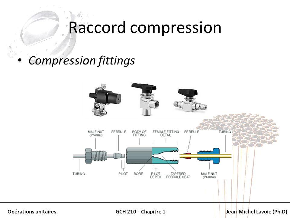 Opérations unitairesGCH 210 – Chapitre 1Jean-Michel Lavoie (Ph.D) Raccord compression Compression fittings