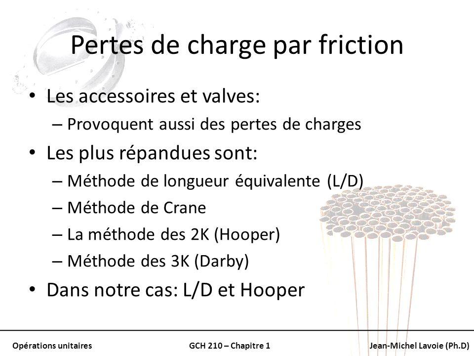 Opérations unitairesGCH 210 – Chapitre 1Jean-Michel Lavoie (Ph.D) Pertes de charge par friction Les accessoires et valves: – Provoquent aussi des pert