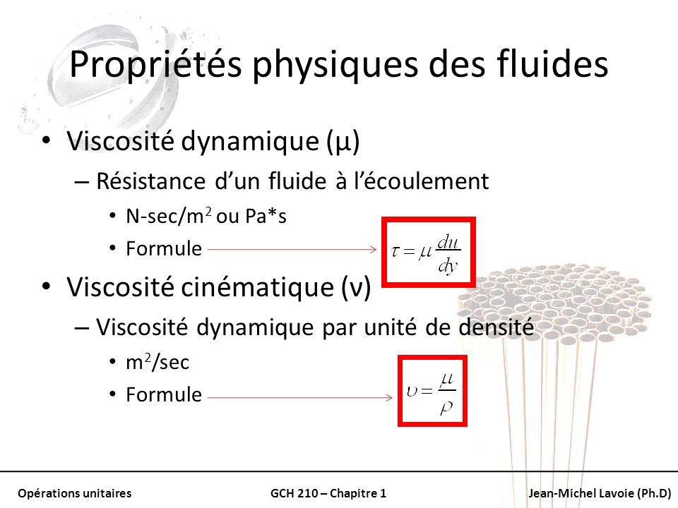 Opérations unitairesGCH 210 – Chapitre 1Jean-Michel Lavoie (Ph.D) Propriétés physiques des fluides Viscosité dynamique (μ) – Résistance dun fluide à l
