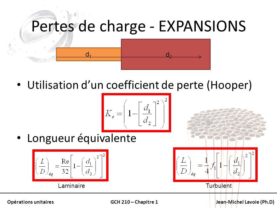 Opérations unitairesGCH 210 – Chapitre 1Jean-Michel Lavoie (Ph.D) Pertes de charge - EXPANSIONS Utilisation dun coefficient de perte (Hooper) Longueur