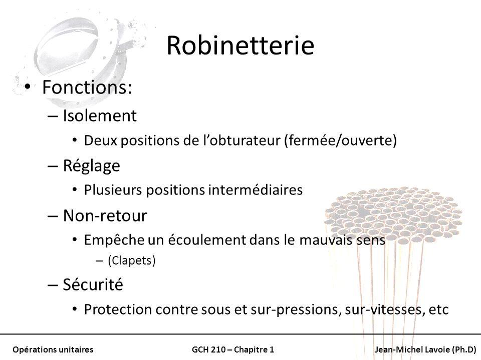 Opérations unitairesGCH 210 – Chapitre 1Jean-Michel Lavoie (Ph.D) Robinetterie Fonctions: – Isolement Deux positions de lobturateur (fermée/ouverte) –