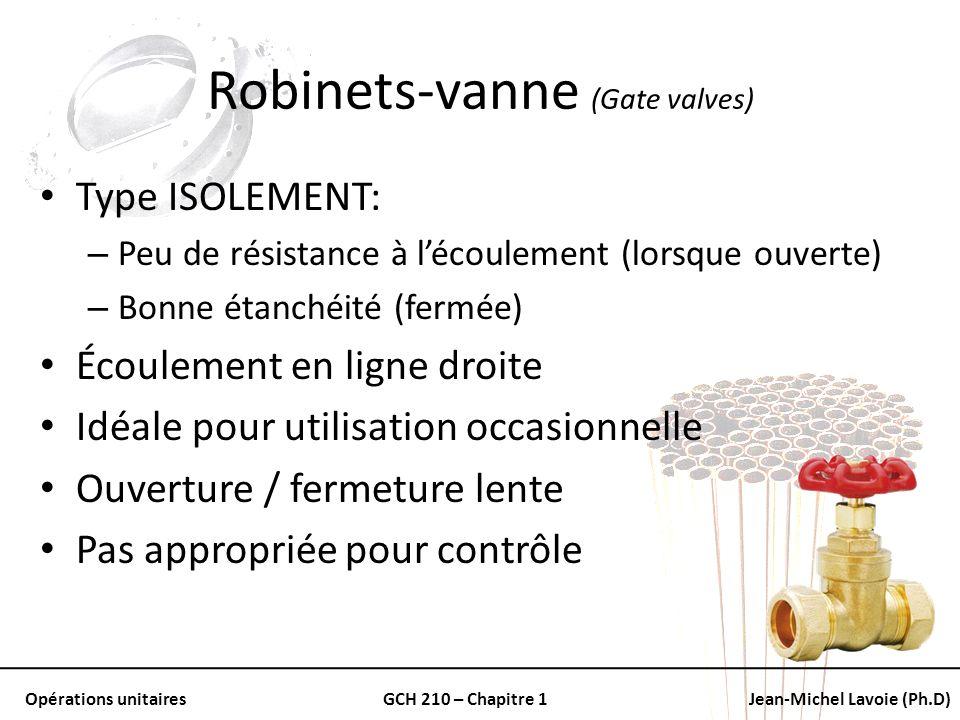 Opérations unitairesGCH 210 – Chapitre 1Jean-Michel Lavoie (Ph.D) Robinets-vanne (Gate valves) Type ISOLEMENT: – Peu de résistance à lécoulement (lors