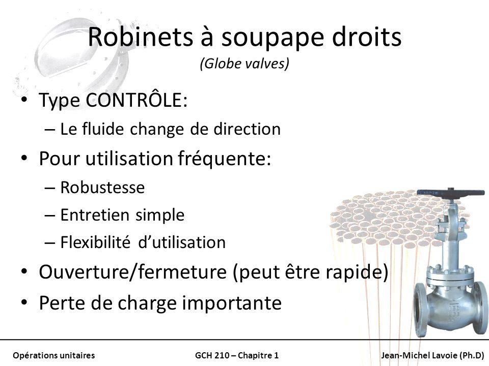 Opérations unitairesGCH 210 – Chapitre 1Jean-Michel Lavoie (Ph.D) Robinets à soupape droits (Globe valves) Type CONTRÔLE: – Le fluide change de direct