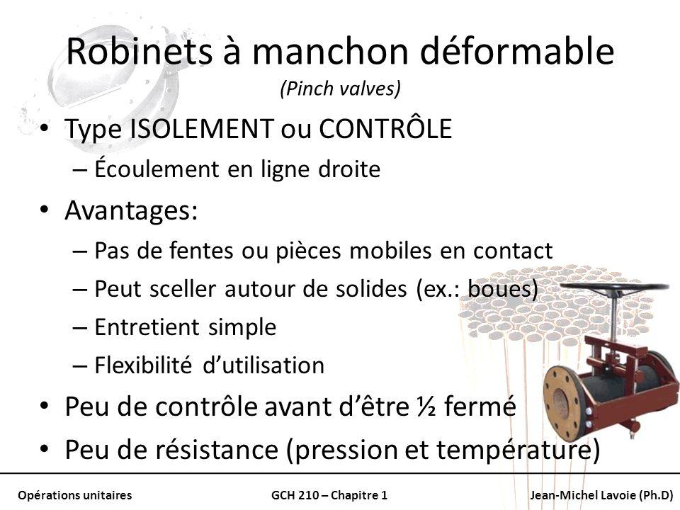 Opérations unitairesGCH 210 – Chapitre 1Jean-Michel Lavoie (Ph.D) Robinets à manchon déformable (Pinch valves) Type ISOLEMENT ou CONTRÔLE – Écoulement