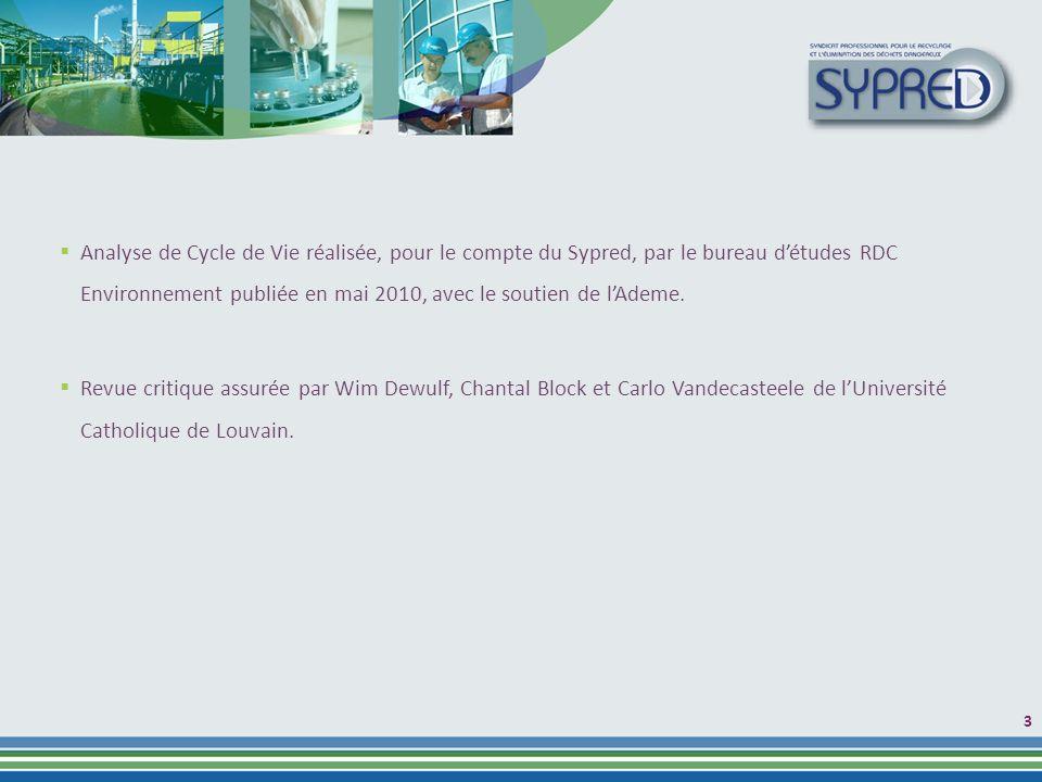 Analyse de Cycle de Vie réalisée, pour le compte du Sypred, par le bureau détudes RDC Environnement publiée en mai 2010, avec le soutien de lAdeme.