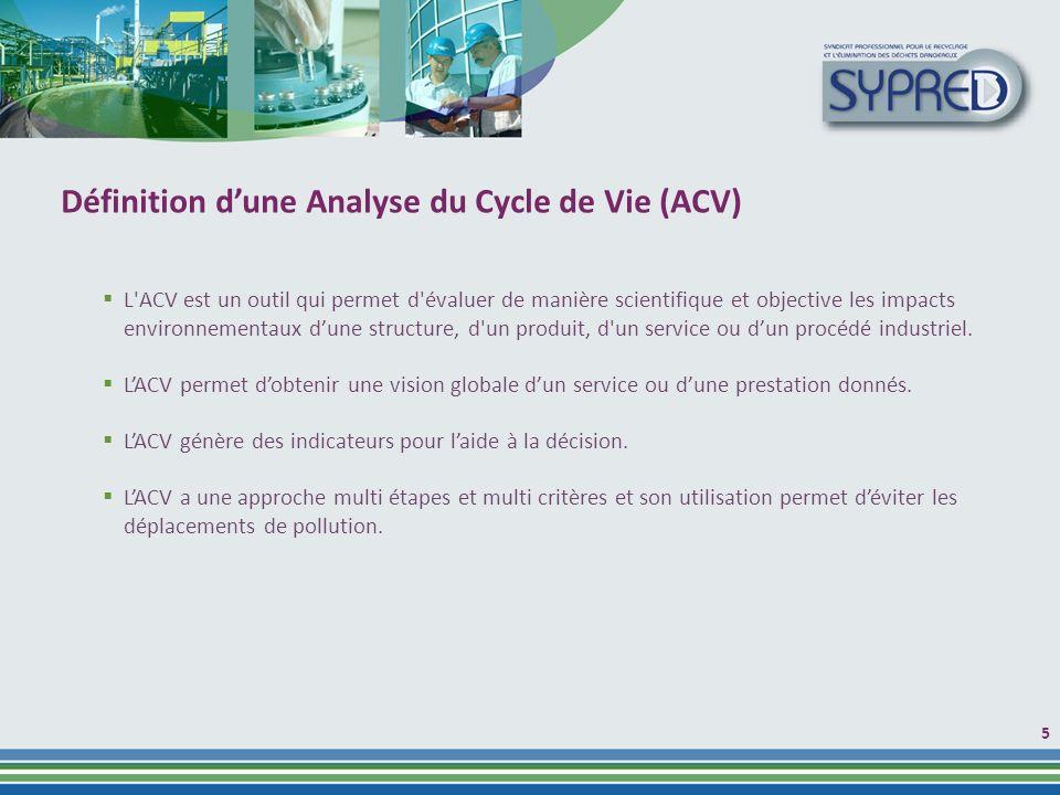 5 Définition dune Analyse du Cycle de Vie (ACV) L ACV est un outil qui permet d évaluer de manière scientifique et objective les impacts environnementaux dune structure, d un produit, d un service ou dun procédé industriel.