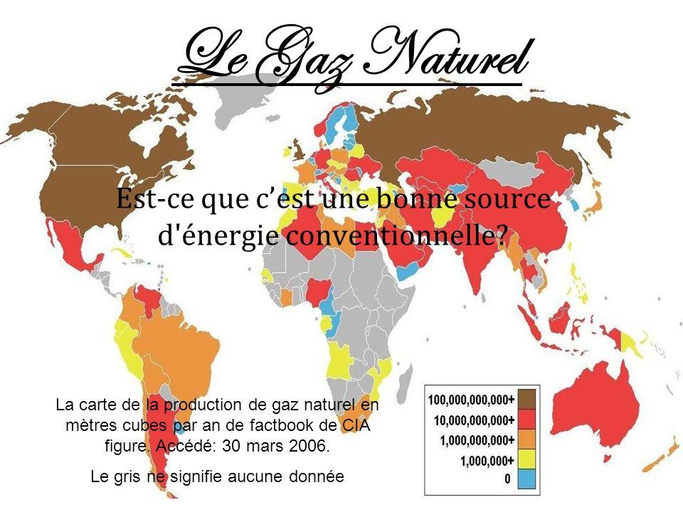 Le Gaz Naturel Est-ce que cest une bonne source d'énergie conventionnelle? La carte de la production de gaz naturel en mètres cubes par an de factbook
