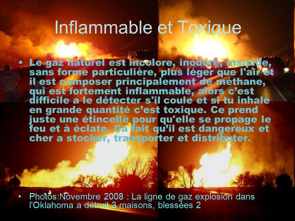 Inflammable et Toxique Le gaz naturel est incolore, inodore, insipide, sans forme particulière, plus léger que l'air et il est composer principalement