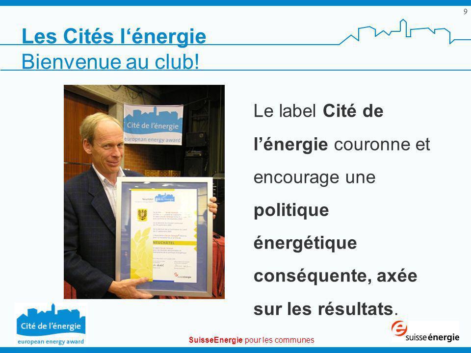 SuisseEnergie pour les communes 10 Les Cités de lénergie 143 Cités de lénergie dont 23 en Suisse romande + de 2,4 mio dhab.