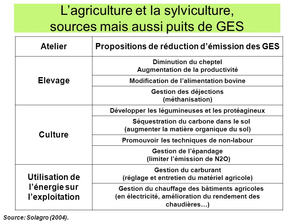 AtelierPropositions de réduction démission des GES Elevage Diminution du cheptel Augmentation de la productivité Modification de lalimentation bovine