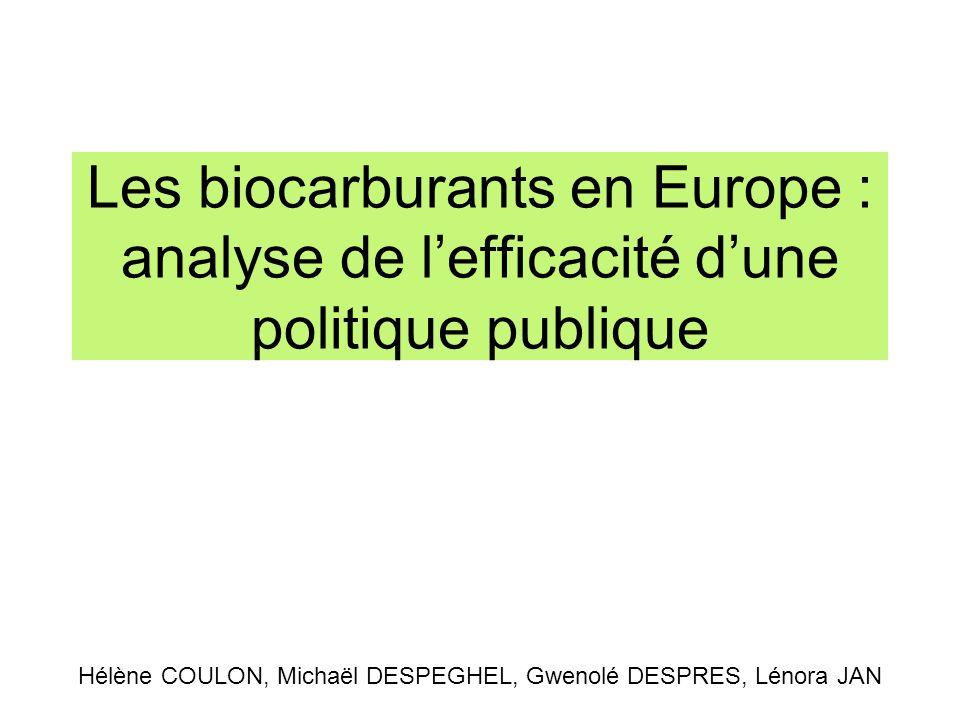Les biocarburants en Europe : analyse de lefficacité dune politique publique Hélène COULON, Michaël DESPEGHEL, Gwenolé DESPRES, Lénora JAN