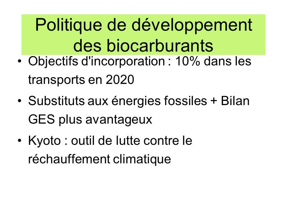 Politique de développement des biocarburants Objectifs d'incorporation : 10% dans les transports en 2020 Substituts aux énergies fossiles + Bilan GES