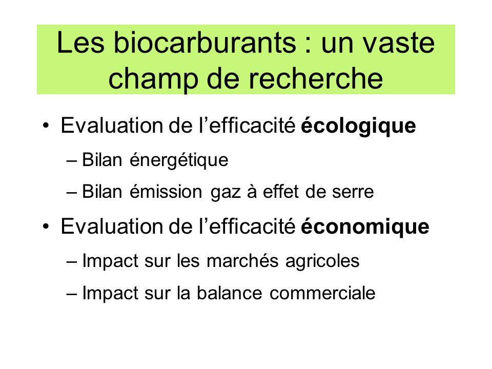 Les biocarburants : un vaste champ de recherche Evaluation de lefficacité écologique –Bilan énergétique –Bilan émission gaz à effet de serre Evaluatio