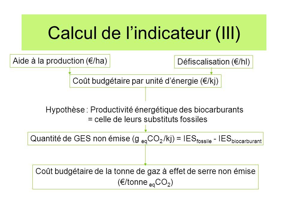 Calcul de lindicateur (III) Aide à la production (/ha) Coût budgétaire par unité dénergie (/kj) Défiscalisation (/hl) Hypothèse : Productivité énergét