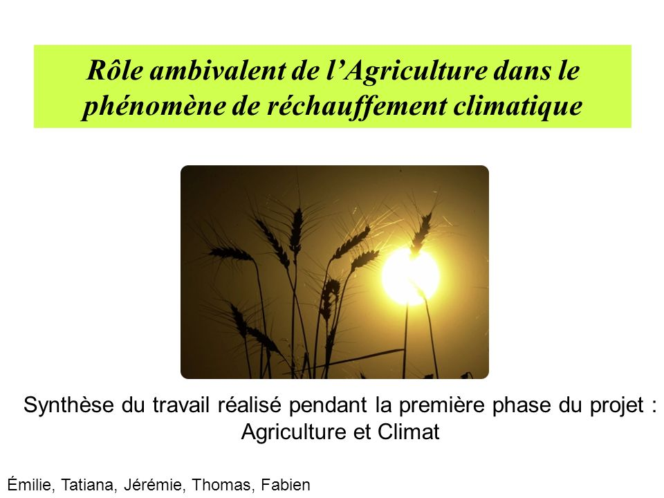 Rôle ambivalent de lAgriculture dans le phénomène de réchauffement climatique Synthèse du travail réalisé pendant la première phase du projet : Agricu
