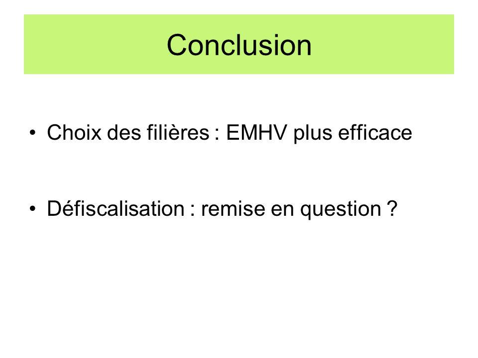 Conclusion Choix des filières : EMHV plus efficace Défiscalisation : remise en question ?