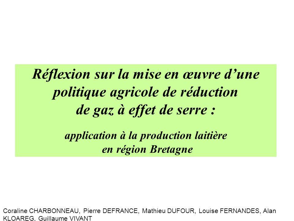 Réflexion sur la mise en œuvre dune politique agricole de réduction de gaz à effet de serre : application à la production laitière en région Bretagne