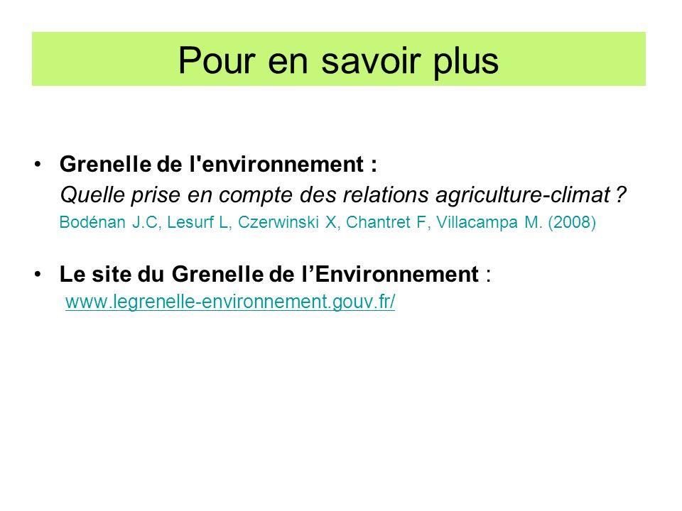 Pour en savoir plus Grenelle de l'environnement : Quelle prise en compte des relations agriculture-climat ? Bodénan J.C, Lesurf L, Czerwinski X, Chant