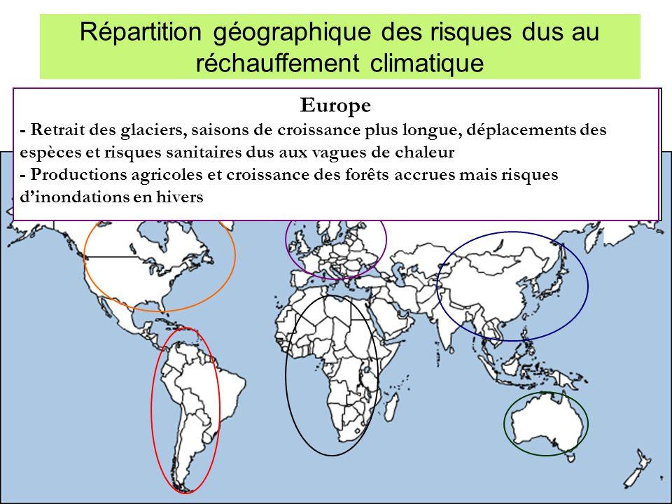 Répartition géographique des risques dus au réchauffement climatique Asie - Risque accru dinondations, davalanches, de glissements de terrain, et de p
