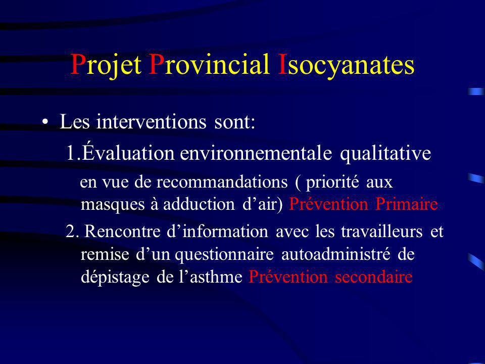 Projet Provincial Isocyanates Les interventions sont: 1.Évaluation environnementale qualitative en vue de recommandations ( priorité aux masques à add