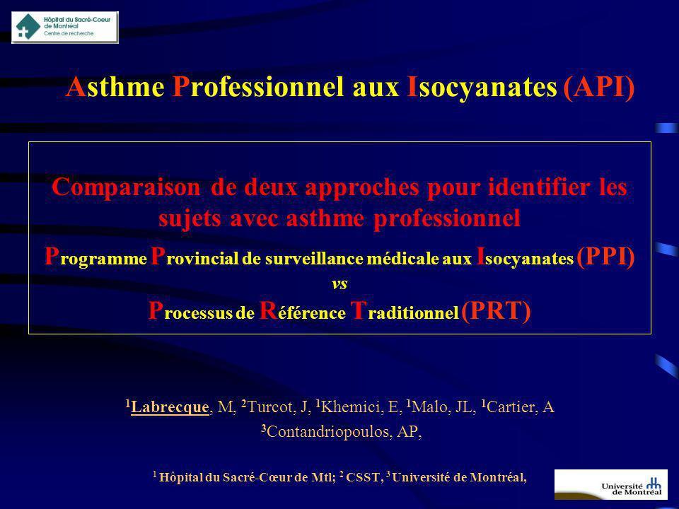 Asthme Professionnel aux Isocyanates (API) Comparaison de deux approches pour identifier les sujets avec asthme professionnel P rogramme P rovincial d