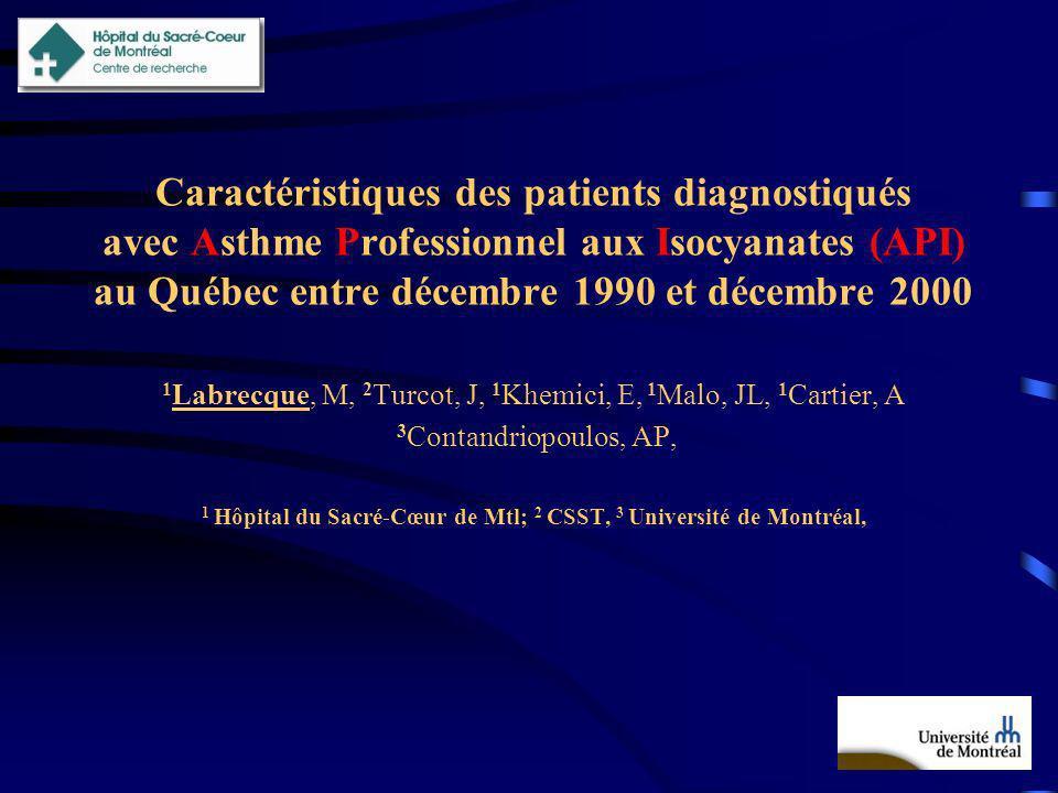 Caractéristiques des patients diagnostiqués avec Asthme Professionnel aux Isocyanates (API) au Québec entre décembre 1990 et décembre 2000 1 Labrecque