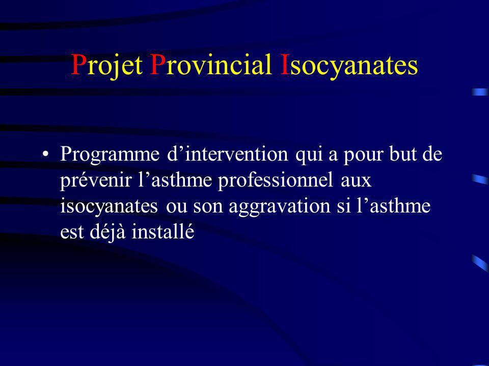 Projet Provincial Isocyanates Les interventions sont: 1.Évaluation environnementale qualitative en vue de recommandations ( priorité aux masques à adduction dair) Prévention Primaire 2.