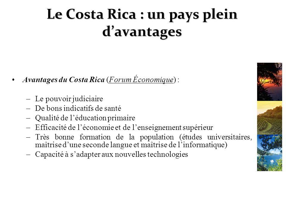 Le Costa Rica : un pays plein davantages Avantages du Costa Rica (Forum Économique) : –Le pouvoir judiciaire –De bons indicatifs de santé –Qualité de
