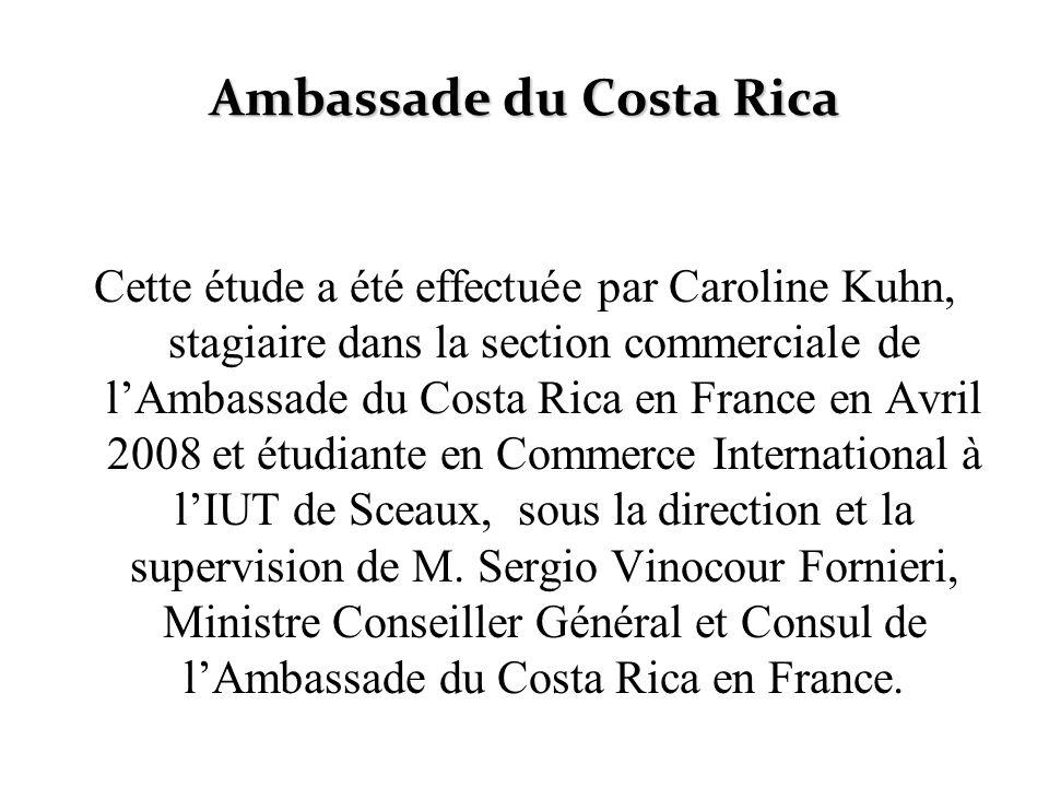 Ambassade du Costa Rica Cette étude a été effectuée par Caroline Kuhn, stagiaire dans la section commerciale de lAmbassade du Costa Rica en France en