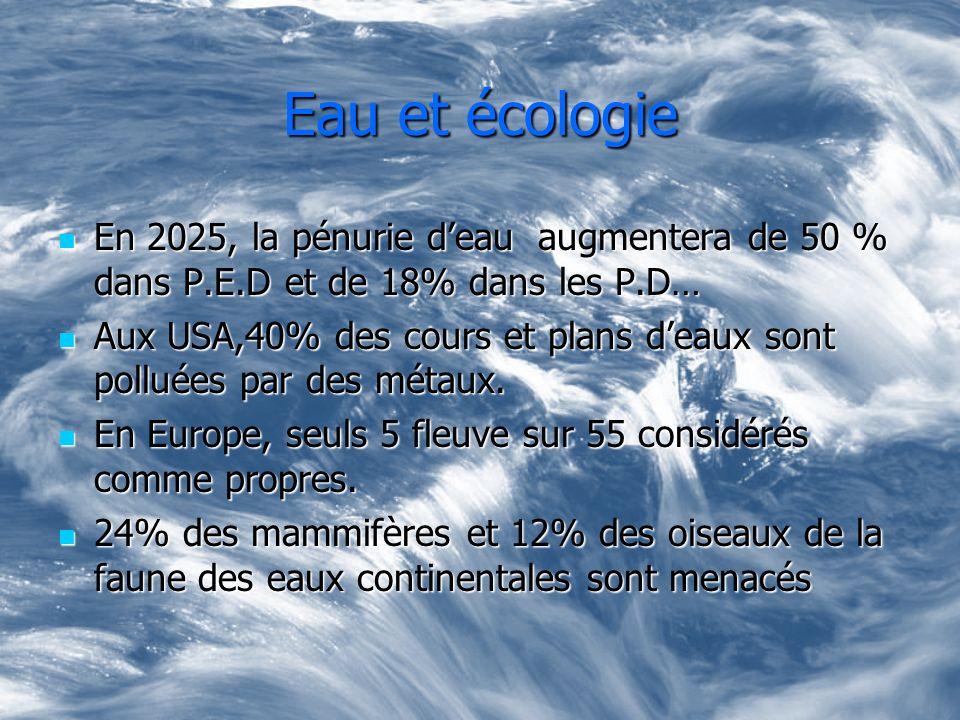 Eau et écologie En 2025, la pénurie deau augmentera de 50 % dans P.E.D et de 18% dans les P.D… En 2025, la pénurie deau augmentera de 50 % dans P.E.D