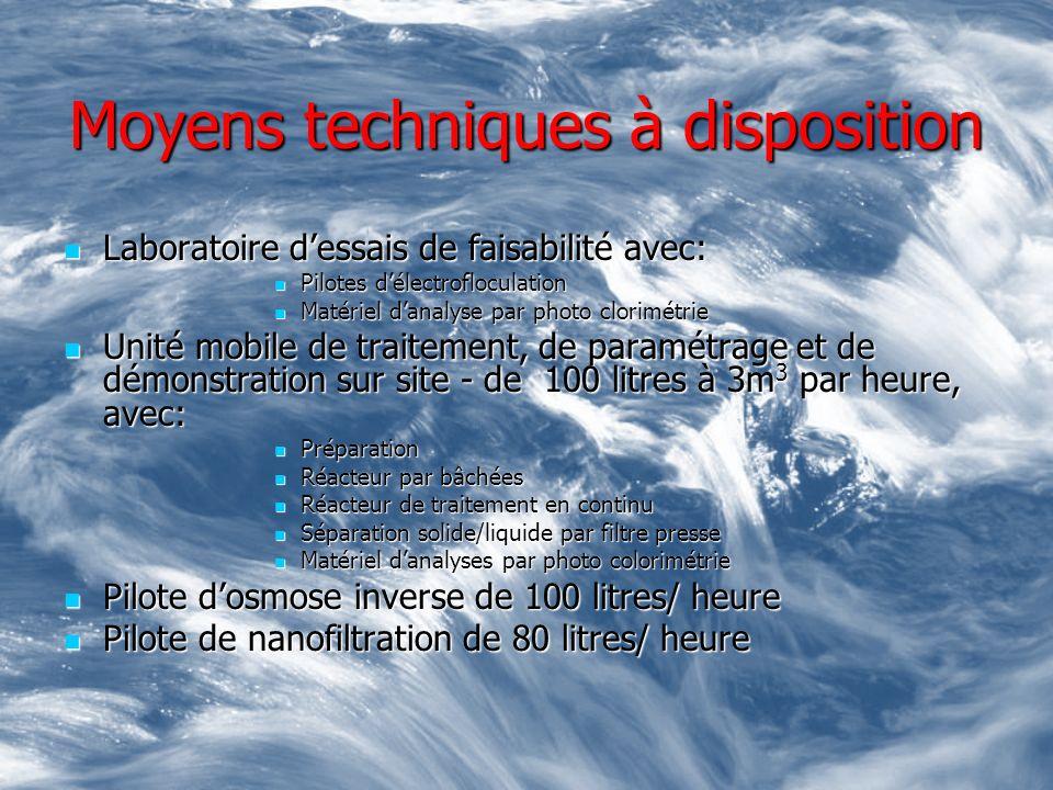 Moyens techniques à disposition Laboratoire dessais de faisabilité avec: Laboratoire dessais de faisabilité avec: Pilotes délectrofloculation Pilotes