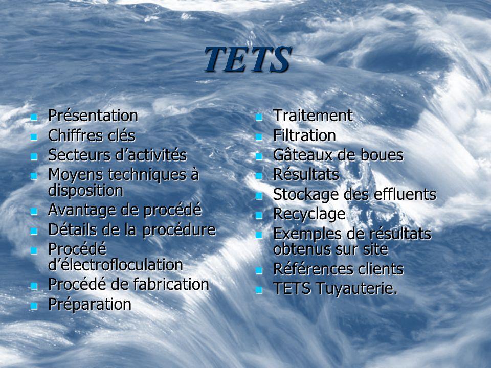 TETS Présentation Présentation Chiffres clés Chiffres clés Secteurs dactivités Secteurs dactivités Moyens techniques à disposition Moyens techniques à