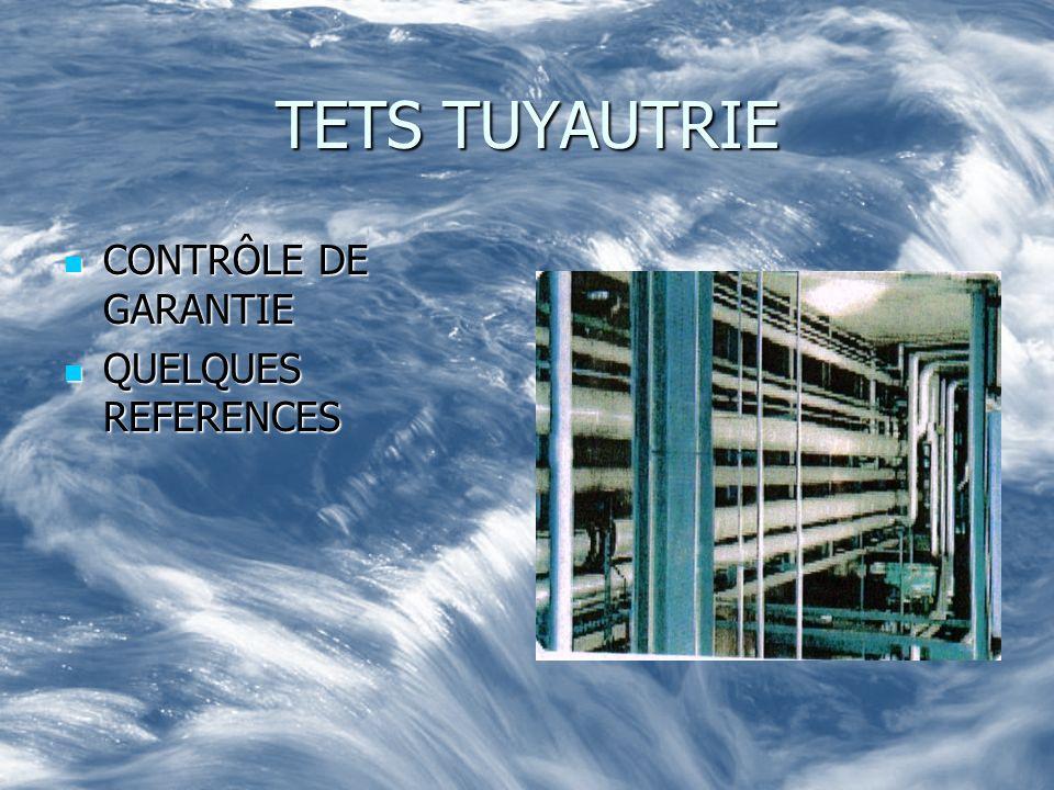 TETS TUYAUTRIE CONTRÔLE DE GARANTIE CONTRÔLE DE GARANTIE QUELQUES REFERENCES QUELQUES REFERENCES