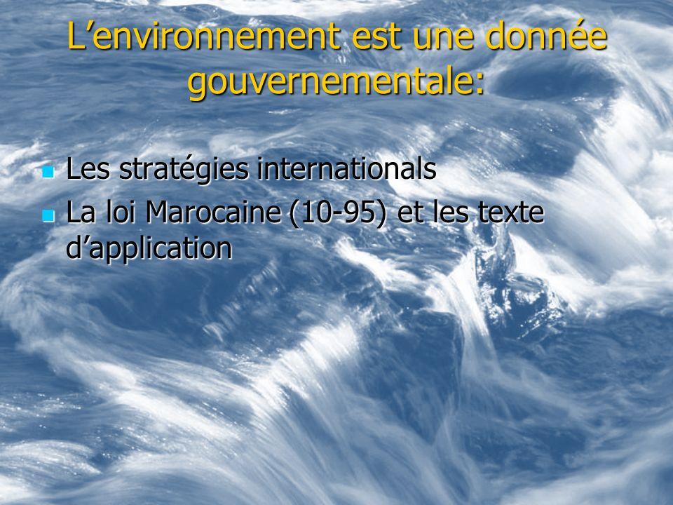 Lenvironnement est une donnée gouvernementale: Les stratégies internationals Les stratégies internationals La loi Marocaine (10-95) et les texte dappl