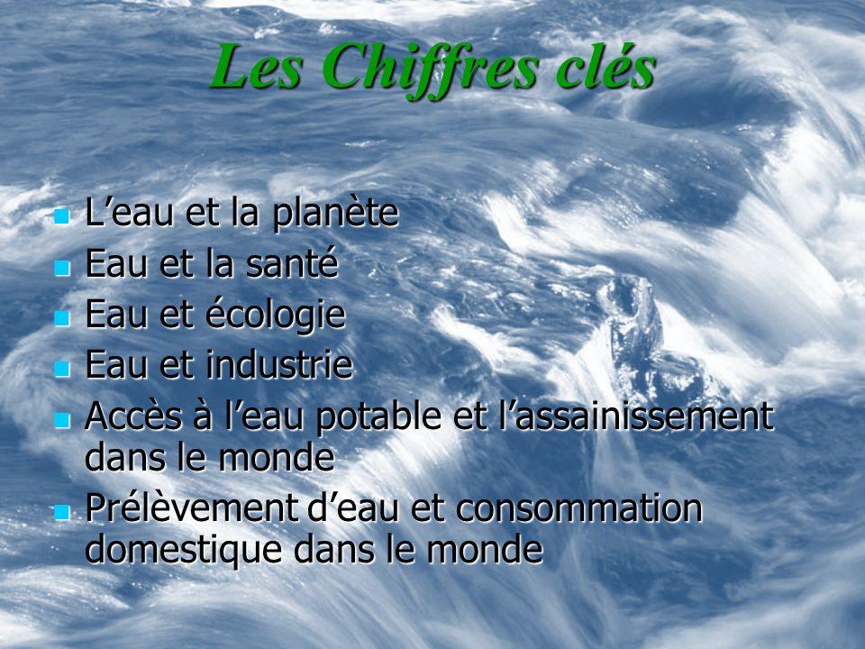 Les Chiffres clés Leau et la planète Leau et la planète Eau et la santé Eau et la santé Eau et écologie Eau et écologie Eau et industrie Eau et indust