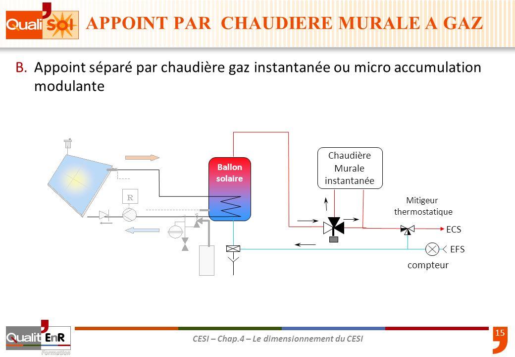 15 CESI – Chap.4 – Le dimensionnement du CESI B.Appoint séparé par chaudière gaz instantanée ou micro accumulation modulante EFS compteur ECS Mitigeur