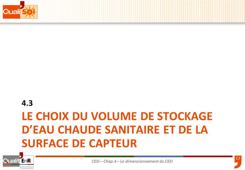 17 CESI – Chap.4 – Le dimensionnement du CESI LE CHOIX DU VOLUME DE STOCKAGE DEAU CHAUDE SANITAIRE ET DE LA SURFACE DE CAPTEUR 4.3