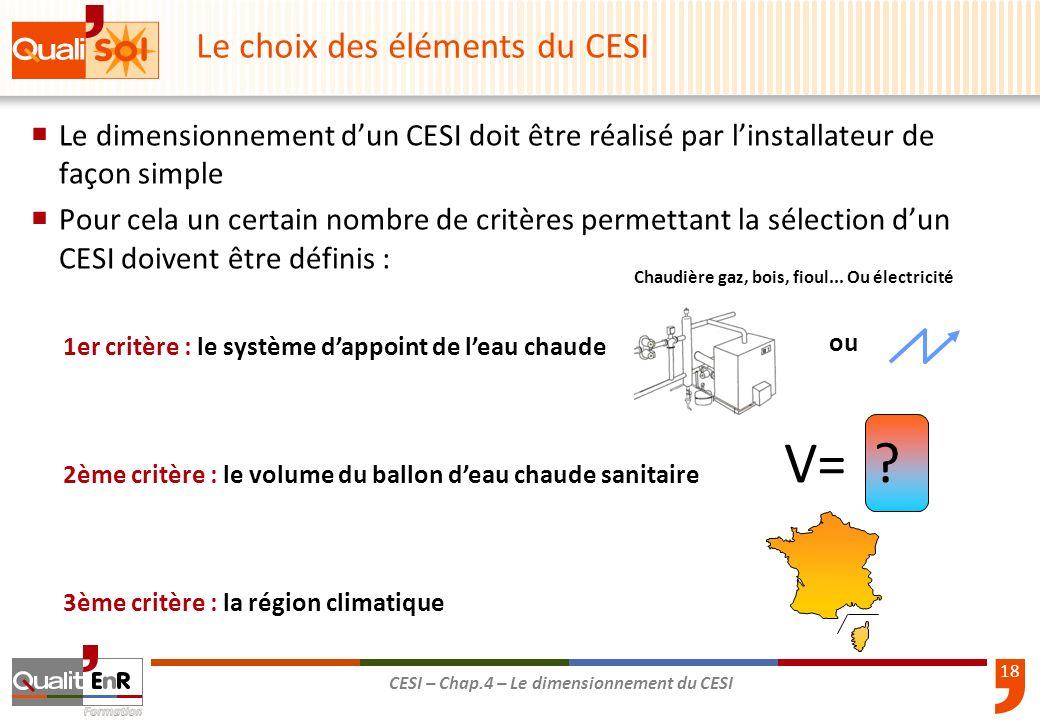 18 CESI – Chap.4 – Le dimensionnement du CESI Le dimensionnement dun CESI doit être réalisé par linstallateur de façon simple Pour cela un certain nom