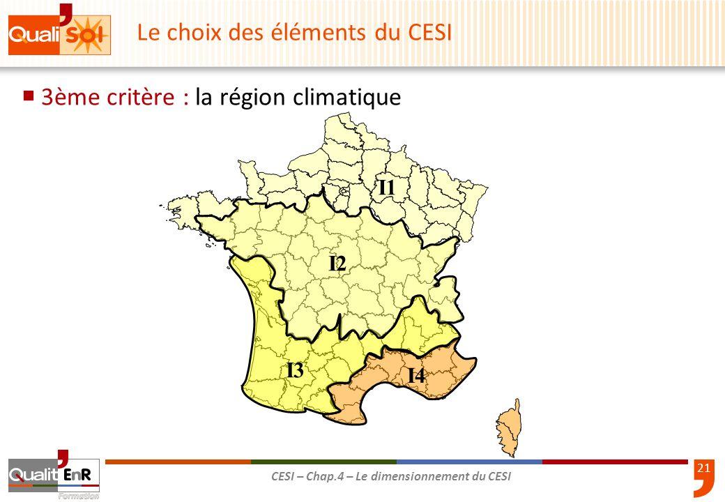21 CESI – Chap.4 – Le dimensionnement du CESI 3ème critère : la région climatique Le choix des éléments du CESI I2I2 I1I1 I3I3 I4I4