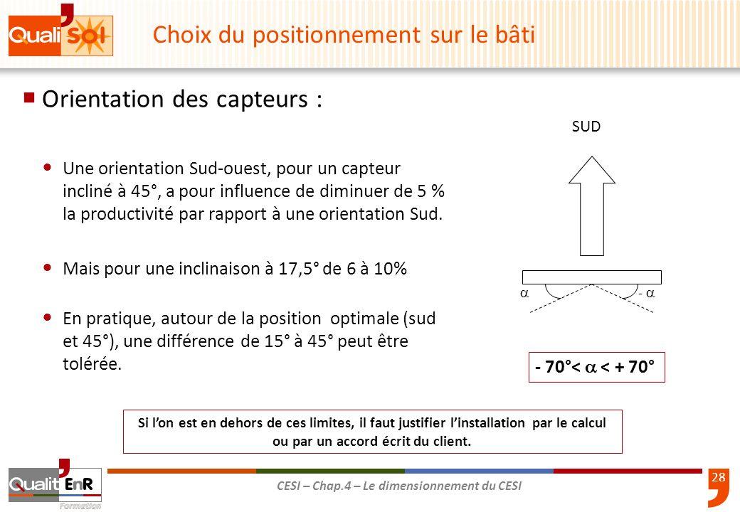 28 CESI – Chap.4 – Le dimensionnement du CESI Orientation des capteurs : Une orientation Sud-ouest, pour un capteur incliné à 45°, a pour influence de