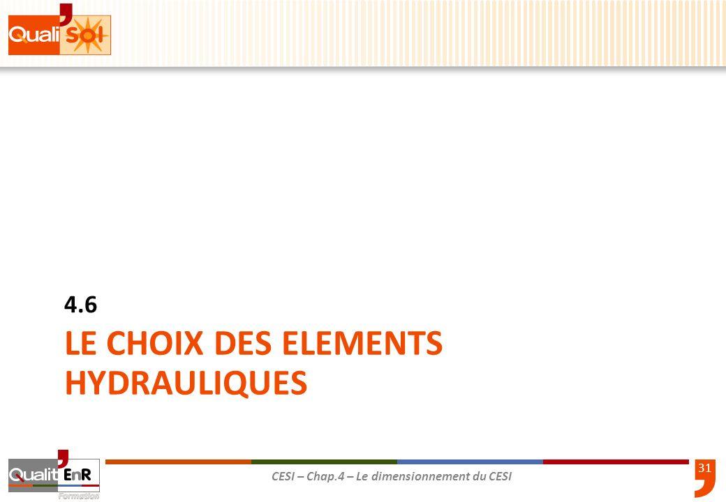 31 CESI – Chap.4 – Le dimensionnement du CESI LE CHOIX DES ELEMENTS HYDRAULIQUES 4.6