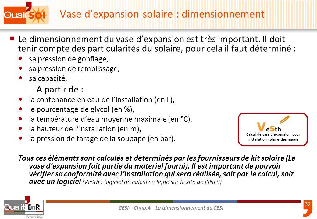 32 CESI – Chap.4 – Le dimensionnement du CESI Le dimensionnement du vase dexpansion est très important. Il doit tenir compte des particularités du sol