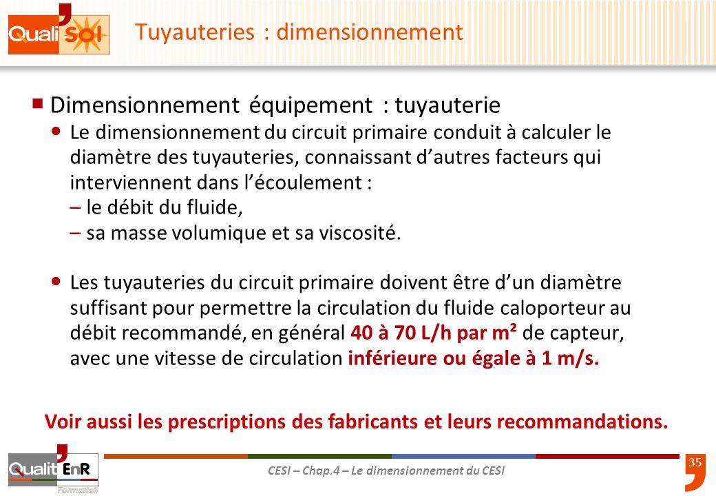 35 CESI – Chap.4 – Le dimensionnement du CESI Tuyauteries : dimensionnement Dimensionnement équipement : tuyauterie Le dimensionnement du circuit prim