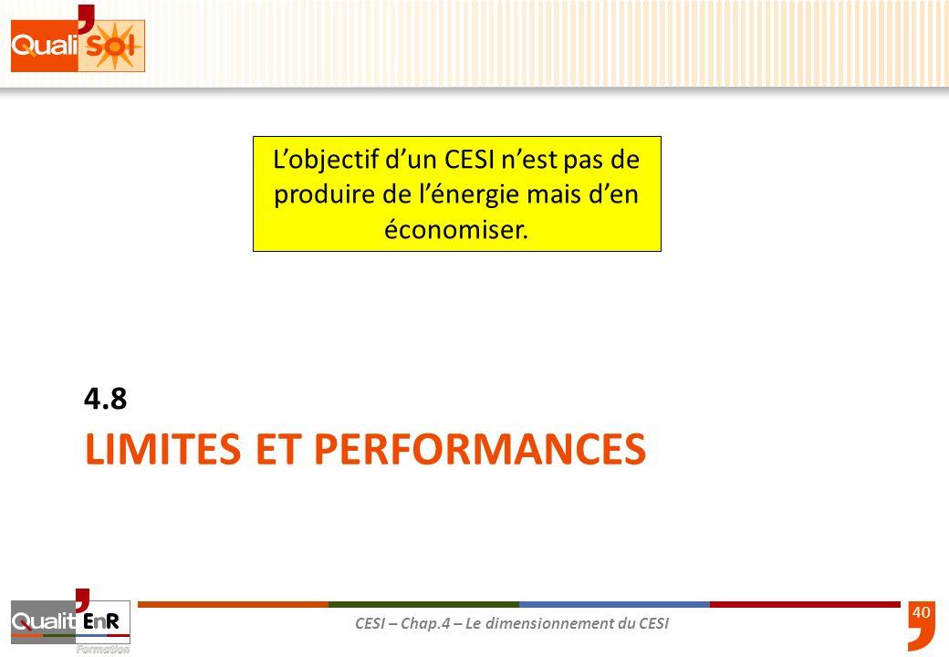 40 CESI – Chap.4 – Le dimensionnement du CESI LIMITES ET PERFORMANCES 4.8 Lobjectif dun CESI nest pas de produire de lénergie mais den économiser.