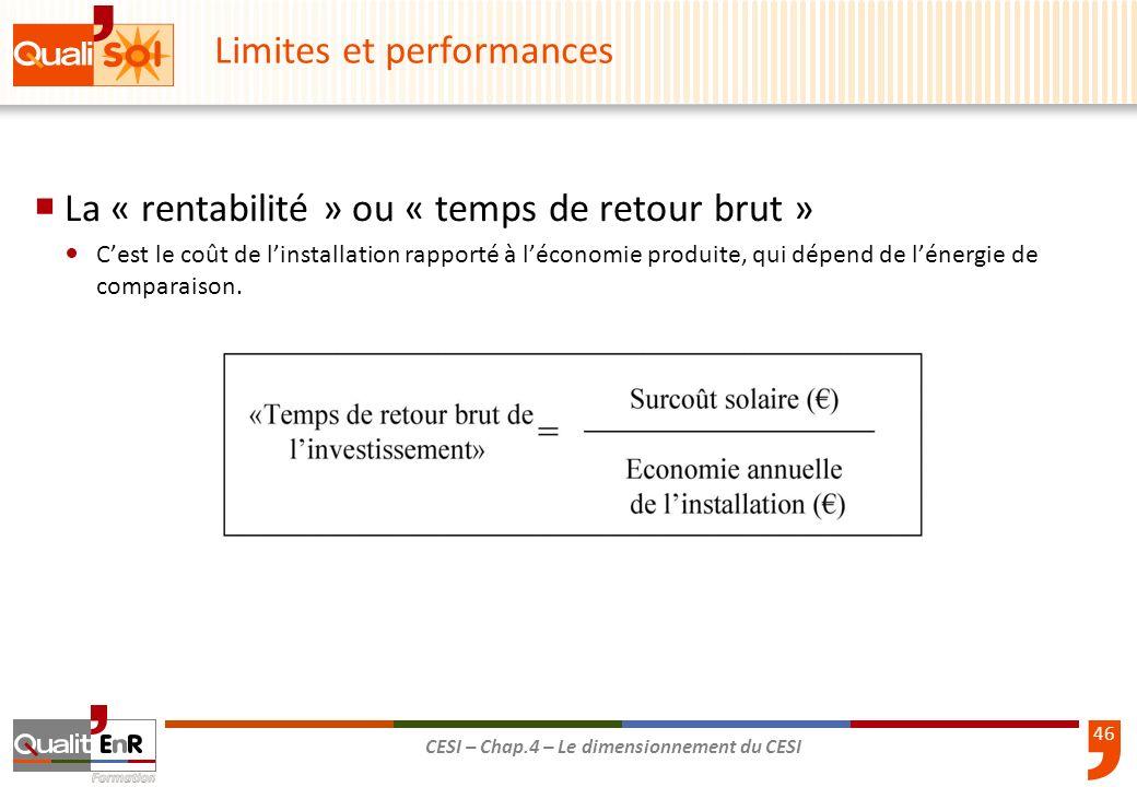 46 CESI – Chap.4 – Le dimensionnement du CESI Limites et performances La « rentabilité » ou « temps de retour brut » Cest le coût de linstallation rap