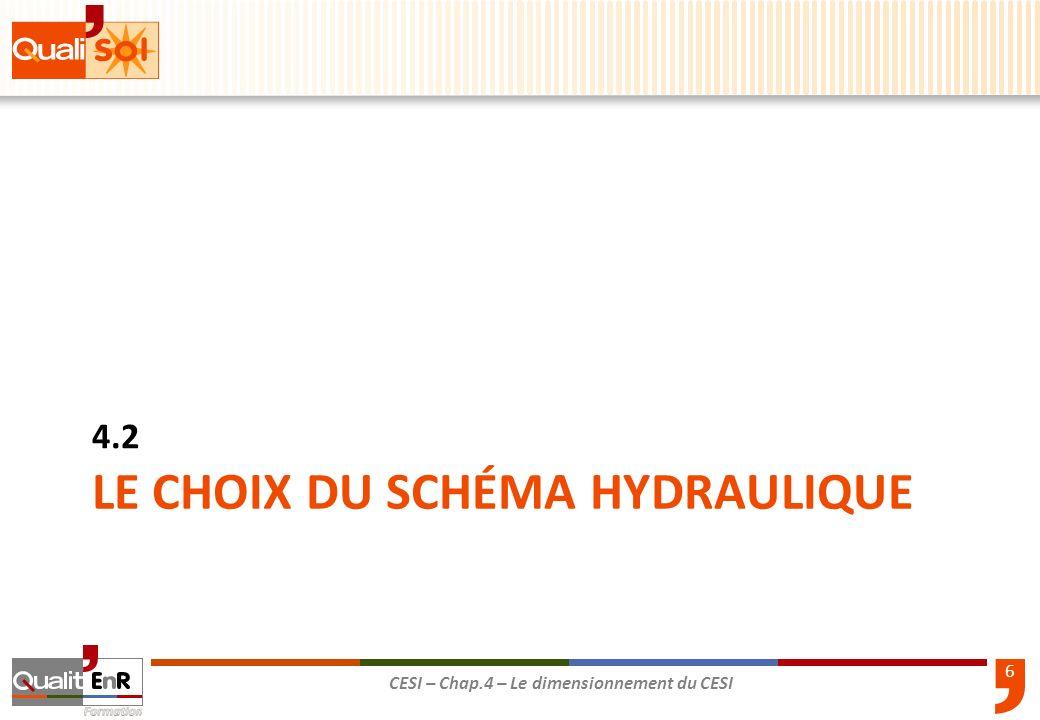 6 CESI – Chap.4 – Le dimensionnement du CESI LE CHOIX DU SCHÉMA HYDRAULIQUE 4.2