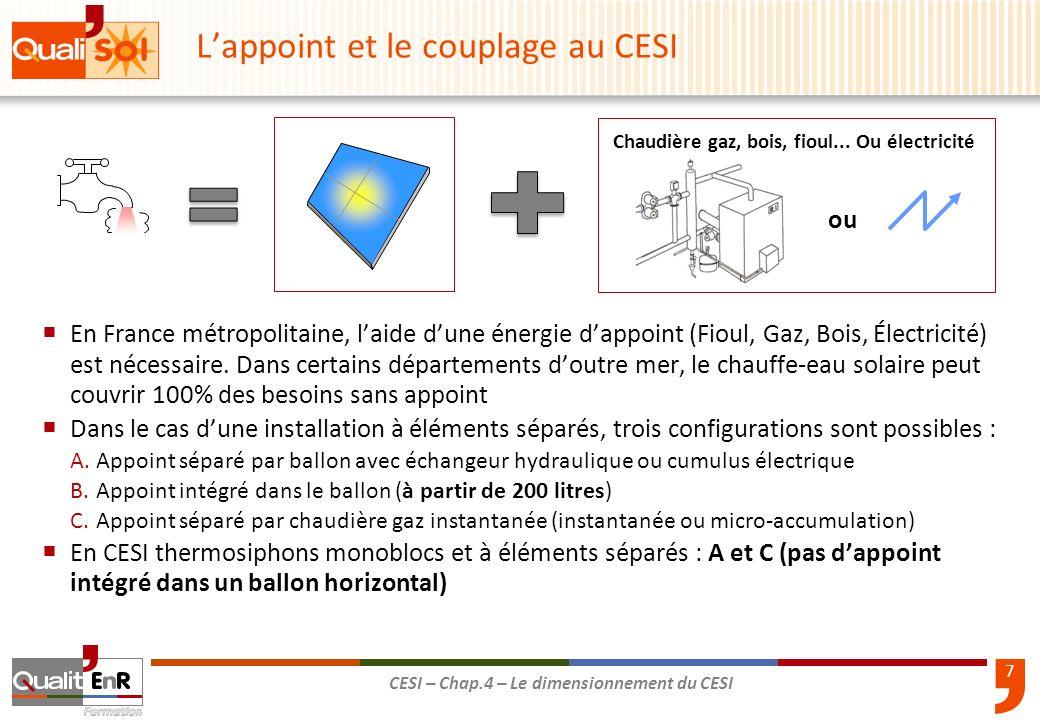7 CESI – Chap.4 – Le dimensionnement du CESI En France métropolitaine, laide dune énergie dappoint (Fioul, Gaz, Bois, Électricité) est nécessaire. Dan