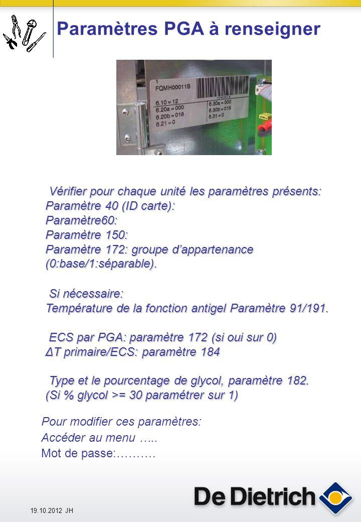 19.10.2012 JH Paramètres PGA à renseigner Vérifier pour chaque unité les paramètres présents: Paramètre 40 (ID carte): Paramètre60: Paramètre 150: Paramètre 172:groupe dappartenance (0:base/1:séparable).